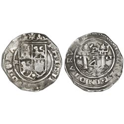 Lima, Peru, 4 reales, Philip II, assayer R (Rincon) to left, motto PL-VSV-LT, legend ISPA / NIARVM.