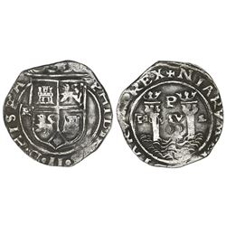 Lima, Peru, 2 reales, Philip II, assayer R (Rincon) to left, motto PL-VSV-L, legend HISPA / NIARVM.