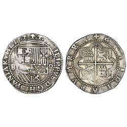 Lima, Peru, cob 8 reales, Philip II, assayer Diego de la Torre, P-8 (flat-top) to left, *-oD to righ