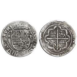 Lima, Peru, cob 2 reales, Philip II, assayer Diego de la Torre, *-ii to left, P-oD/X to right, rare,