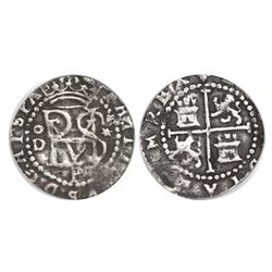 Lima, Peru, cob 1/2 real, Philip II, assayer Diego de la Torre, oD to left, * to right, P below mono