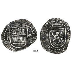 Lima, Peru, cob 1/4 real, Philip II, assayer Diego de la Torre, P-* flanking castle.