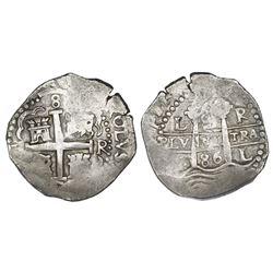 Lima, Peru, cob 8 reales, 1686R.