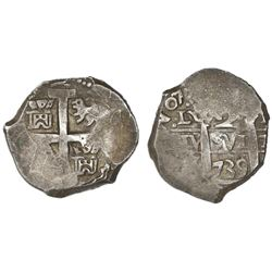 Lima, Peru, cob 2 reales, 1739/8N.