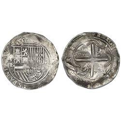 Potosi, Bolivia, cob 8 reales, Philip II, assayer B (1st period), rare.