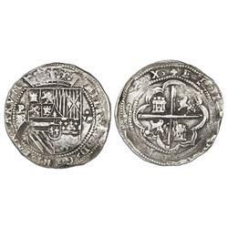 "Potosi, Bolivia, cob 8 reales, Philip II, assayer B (1st period), ""heavy lions"" variety, very rare."