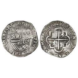 Potosi, Bolivia, cob 8 reales, Philip II, assayer B (2nd period).
