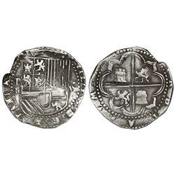 Potosi, Bolivia, cob 8 reales, Philip II, assayer B (3rd period), no fleurs (unique).