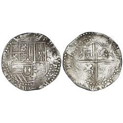 Potosi, Bolivia, cob 8 reales, Philip II, assayer B (3rd period).