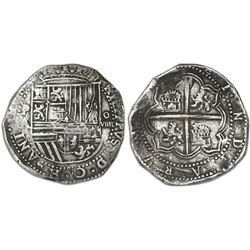 Potosi, Bolivia, cob 8 reales, Philip II, assayer A, error denomination o-VIIII.