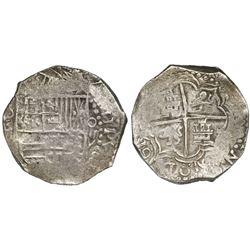 Potosi, Bolivia, cob 8 reales, 1617M, denomination as O-III-V, reverse legend rotated 90 degrees cou