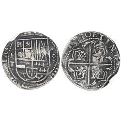 Potosi, Bolivia, cob 8 reales, 1630T, cross-fleury ornaments flanking denomination, PCGS XF40.