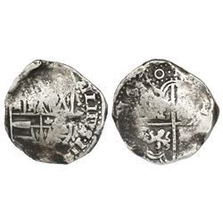 Potosi, Bolivia, cob 8 reales, 1640, assayer not visible (TR or FR), rare.