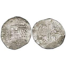 Potosi, Bolivia, cob 8 reales, 164(?)Z, no countermark (rare).