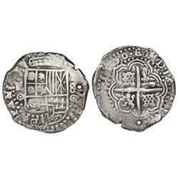 Potosi, Bolivia, cob 8 reales, 1650O, no countermark (rare).