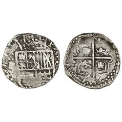Potosi, Bolivia, cob 4 reales, Philip IV, assayer not visible (1620s), 2R-sized castles in cross (un