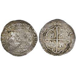 Potosi, Bolivia, cob 2 reales, Philip II, assayer B (1st period).