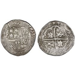 Potosi, Bolivia, cob 2 reales, Philip II, assayer B (1st period), ex-Americas.