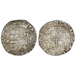 Potosi, Bolivia, cob 2 reales, Philip II, assayer B (3rd period), rotated reverse legend.