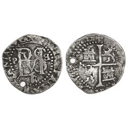 Potosi, Bolivia, cob 1/2 real, Philip II, assayer B/L (1st period) below monogram, retrograde B to r