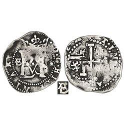 Potosi, Bolivia, cob 1/2 real, Philip II, assayer B/A (4th period) to left, rare, ex-Karon.