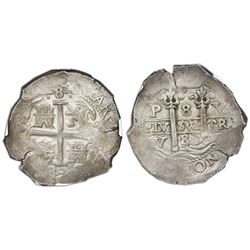 Potosi, Bolivia, cob 8 reales, 1683V, NGC AU 58.