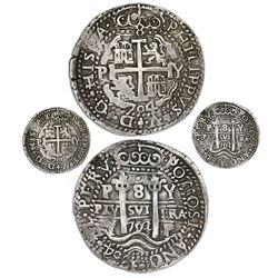 Potosi, Bolivia, cob 8 reales Royal (galano), 1704/3Y, unique overdate, no hole, ex-Sellschopp.