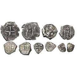 Complete denomination set of Potosi, Bolivia, cob 1/2-1-2-4-8 reales, 1738M.