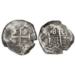 Potosi, Bolivia, cob 8 reales, 1745q, NGC VF 30.
