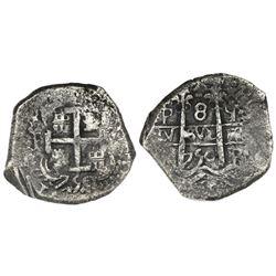 Potosi, Bolivia, cob 8 reales, 1750q, ex-Luz (1752).