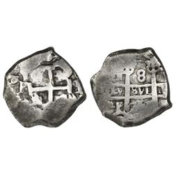 Potosi, Bolivia, cob 8 reales, 1751q, with q and P transposed on pillars side, very rare.
