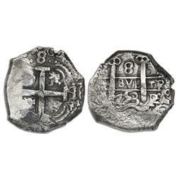 Potosi, Bolivia, cob 8 reales, 1753q.