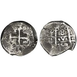 Potosi, Bolivia, cob 8 reales, 1758q, NGC VF 25.