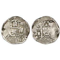 Potosi, Bolivia, cob 4 reales, 1653E, with dot-PH-dot at top.