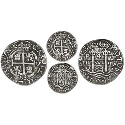 Potosi, Bolivia, cob 4 reales Royal (galano), 1683V, extremely rare.