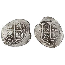 Potosi, Bolivia, cob 2 reales, 1656+57E, extremely rare.
