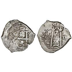 Potosi, Bolivia, cob 2 reales, 1674E, cross side struck over brockage (unique).