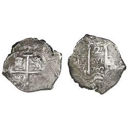 Potosi, Bolivia, cob 2 reales, 1702Y.
