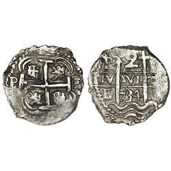 Potosi, Bolivia, cob 2 reales, 1734E.