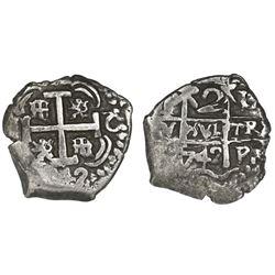 Potosi, Bolivia, cob 2 reales, 1742C/P.