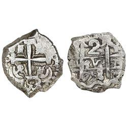 Potosi, Bolivia, cob 2 reales, 1753/2q, very rare.