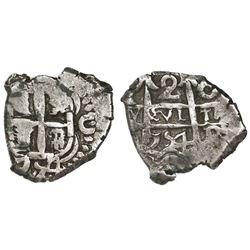 Potosi, Bolivia, cob 2 reales, 1754C(+q?).