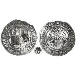 Toledo, Spain, 1 real, Ferdinand-Isabel, five dots in cruciform to left, mintmark T to right, with P