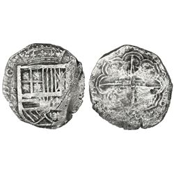 Cartagena, Colombia, cob 8 reales,16(26), no assayer (or not visible to right), mintmark RN to left,
