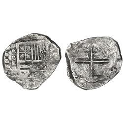 Cartagena, Colombia, cob 8 reales, Philip IV, assayer E below mintmark RN to left, denomination VIII