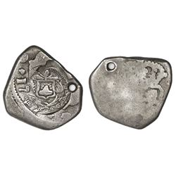 Guatemala, cob 1 real, 1747(J), with El Salvador arms countermark (Type V, 1869) on pillars side.