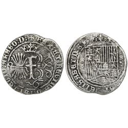 Seville, Spain (special issue for use in the New World), 1 real, Ferdinand-Isabel, mintmark S above