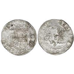 Granada, Spain, 2 reales, Ferdinand-Isabel, assayer three-quarters Maltese cross on reverse, mintmar