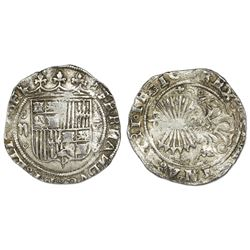 Granada, Spain, 2 reales, Ferdinand-Isabel, assayer R at bottom and + at top on reverse, mintmark G