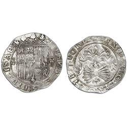 Granada, Spain, 2 reales, Ferdinand-Isabel, assayer R on reverse, mintmark oG to left of shield.